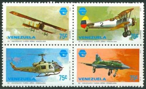 Estampillas Venezuela Serie 4 Valores  Fuerza Aérea