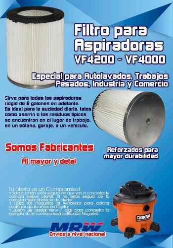 Filtro Para Aspiradora Ridgid Vf  En Adelante C/s Tapa