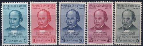 Serie Estampillas Venezuela  Simon Rodriguez Sin Goma