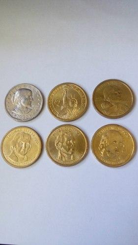 6 Monedas Americanas Colección Presidentes Onedolar
