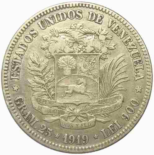 Agradable Moneda 5 Bolívares, Fuerte De Plata  Vf/ Vf+