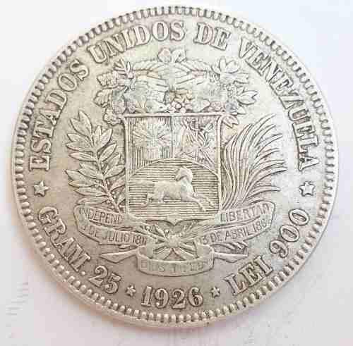 Espectacular Fuerte Moneda De Plat 5 Bolivares Del Año