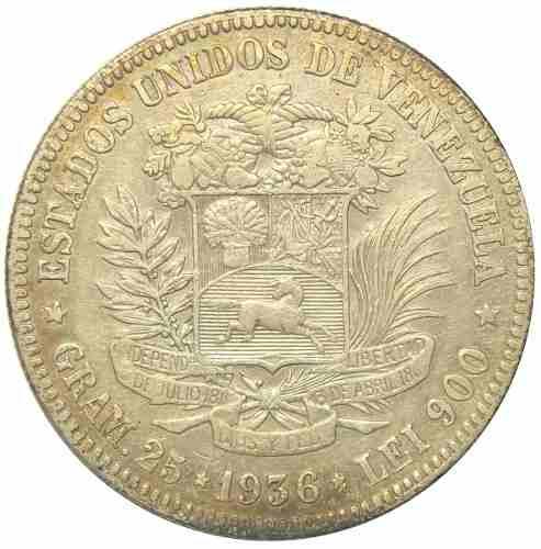 Excelente Moneda 5 Bolívares De Plata  Fecha Ancha Ef-