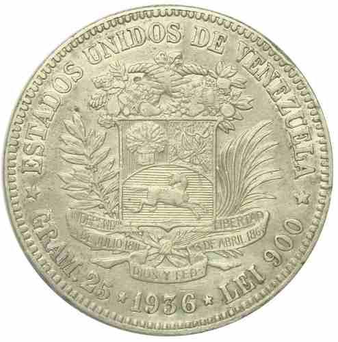 Excelente Moneda 5 Bolívares- Fuerte  Fecha Ancha Ef