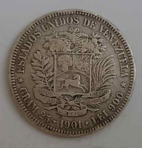 Fuerte Moneda De Venezuela 5 Bolivares De .