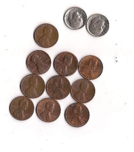 Lote De Monedas 10 De One Cent Y 2 Dime Americanas