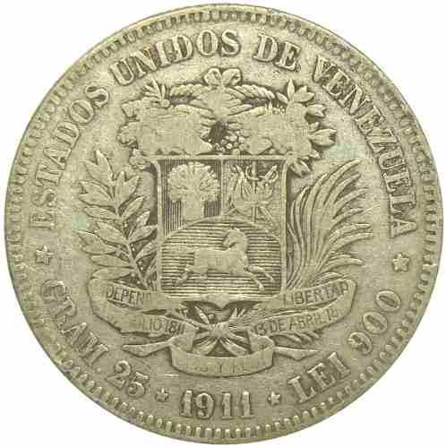 Moneda 5 Bolívares De Plata, Fuerte  Fecha Ancha F/ F-