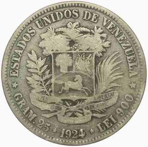 Moneda 5 Bolívares, Fuerte De  Fecha Angosta Vg / F-