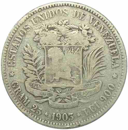 Moneda 5 Bolívares, Fuerte De Plata  Alineado F-