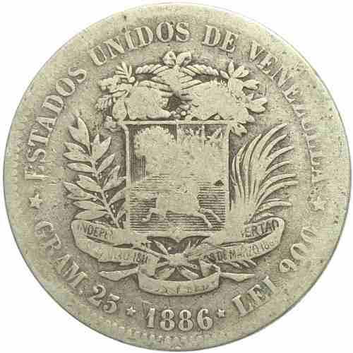 Moneda 5 Bolívares, Fuerte De Plata  Fecha Ancha