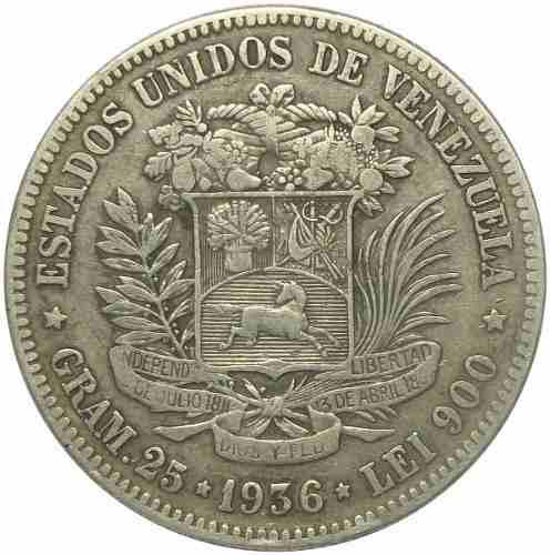 Moneda 5 Bolívares- Fuerte De Plata  Fecha Ancha Vf/
