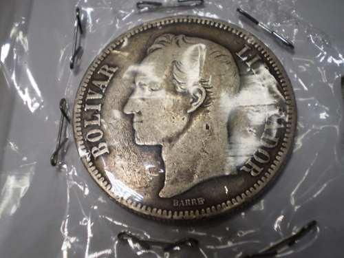 Moneda De Plata. Cinco Bs. . De Colección