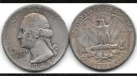 Moneda Un Cuarto De Dolar, Plata-