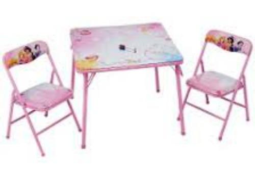 Mesa Con 2 Sillas Para Niñas Princesas Disney