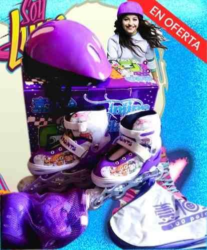 Rollers Patines En Linea Con Luces Niñas Niños Kit