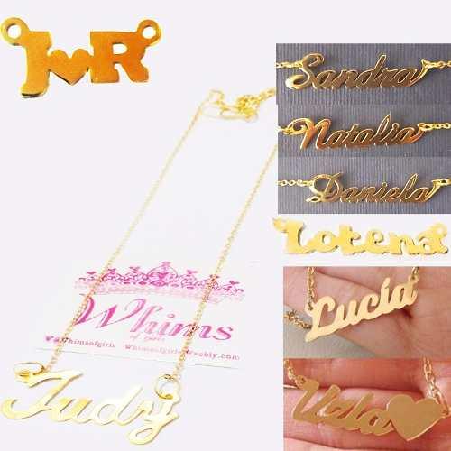 0cdb5ec61d5d Collar nombre personalizados baño de oro sin cadena