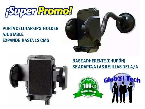 Porta Celular Gps Holder Para Vehículo Parabrisas Y A/acond