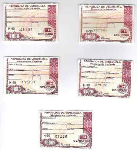 Timbres Fiscales De 1.000 Bolívares Serie A Números Difere