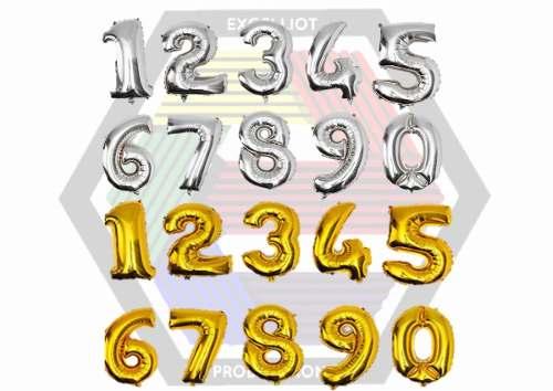 Globos Numeros Metalizados 40cms Al Detal