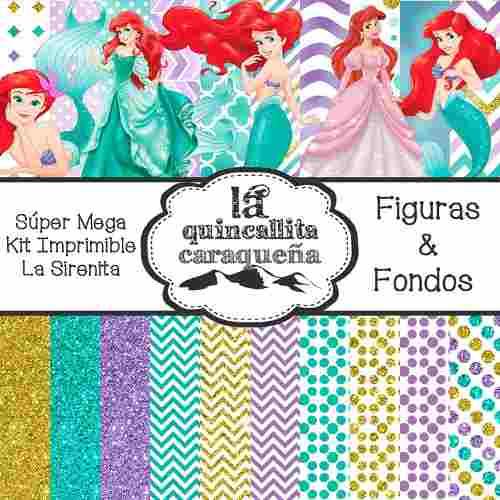 Súper Mega Kit Imprimible De La Sirenita (figuras & Fondos)