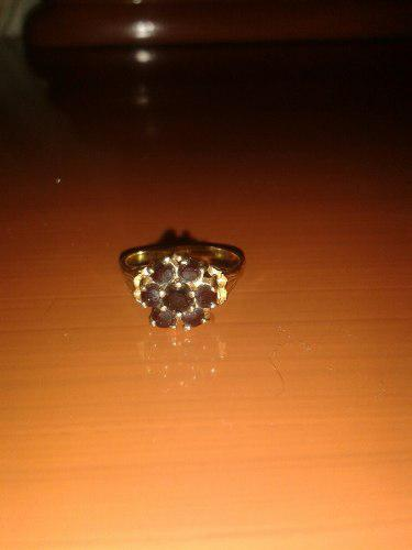Anillo De Oro 18k Con Piedras De Granate
