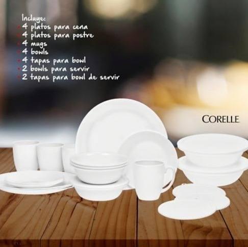 Vajilla Corelle 4 Puestos 24 Piezas Blanca Nueva