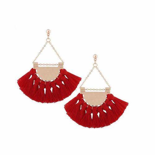 Zarcillos De Borlas Pompones Aztecas Dorados De Moda