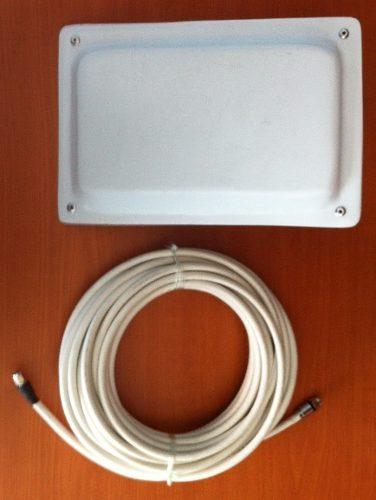 Antena Wifi Tipo Panel De 17dbi Con 10 Metros De Cable Rg6