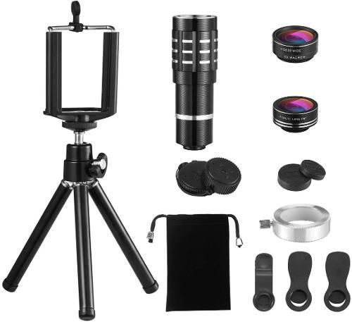 Kit De Lentes Zoom 12x Fish Eye Con Tripode Samsung Iphone