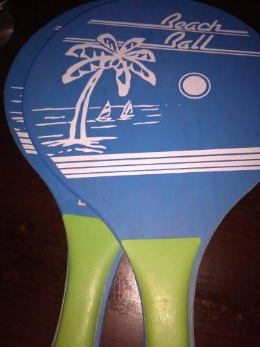 Raquetas De Playa De Madera