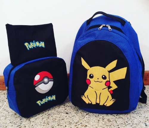 Bolso Morral Escolar Lonchera Cartuchera Pokemon