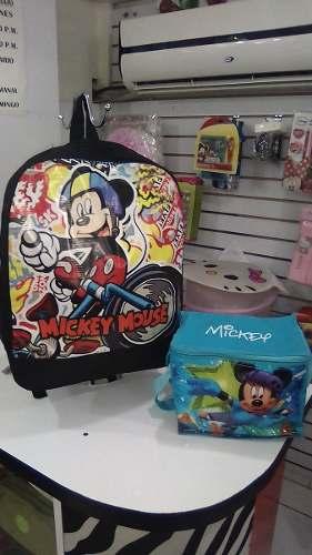 Combo Escolar Mickey Mouse + Lonchera Termica