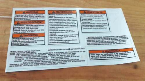 Kit Completo Calcomanias Advertencia Suzuki Vstrom
