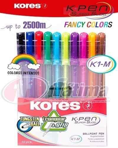 Boligrafos De Colores Marca Kores K1-m. Super Slide
