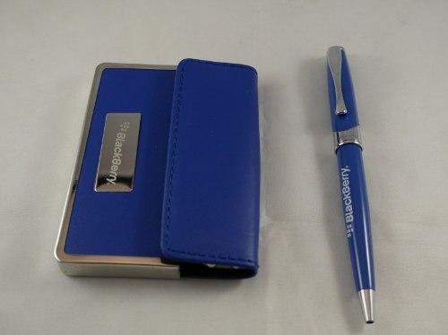 Juego De Portatarjetas De Cuero Y Bolígrafo Azul Eléctrico