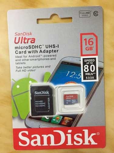 Memoria Micro Sd 16 Gb Sandisk Ultra Hd Clase 10 Celular