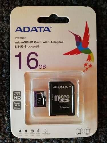 Memoria Micro Sd Adata Original 16 Gb Clase 10 Speed 50 Mbs