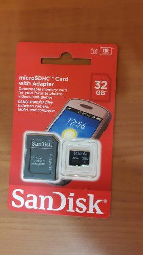 Memoria Micro Sd Hc 32gb Clase 4 Con Adaptador Sandisk