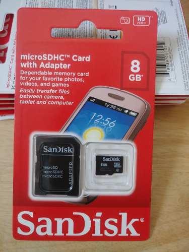 Micro Sd Memoria 8 Gb Clase 4 Sandisk