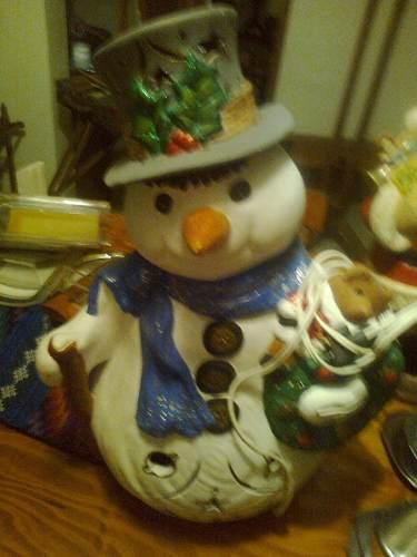 Muñeco De Navidad De Nieve De Cerámica Con Bombillo