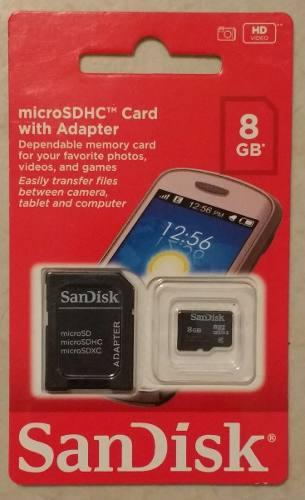 Tarjeta Sandisk Micro Sdhc Con Adaptador De 8 Gb