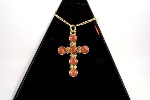 Cruz De Lluvia De Oro Con Cadena De Goldfield