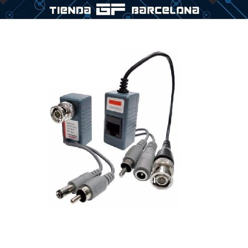 Par De Video Balun Rj45 Audio + Video + Corriente 3 En 1
