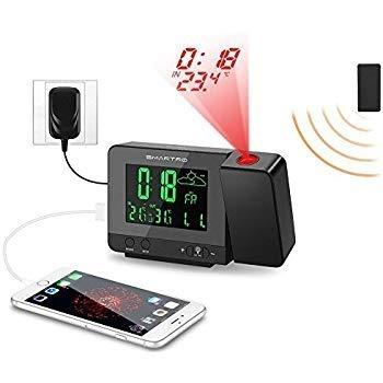 Radio Reloj Despertador Proyección Digital Cargador