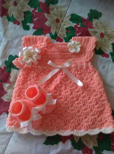 Vestido Tejido A Crochet De 0 A 3 Meses  Soberanos