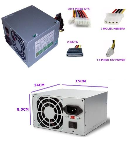 Fuente De Poder Emerald 500watt Atx-500w Pc Sata Molex Ccc