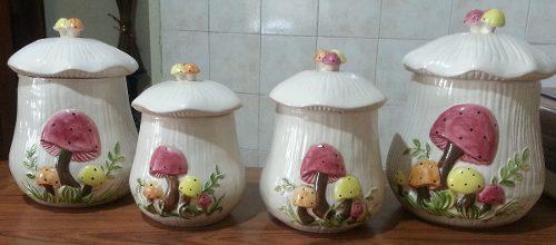 Juego 4 Potes Envases Cocina Decorativos Ceramica Oferta