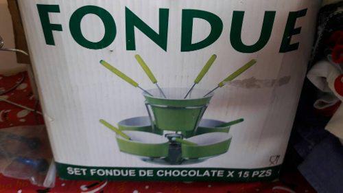 Set De Fondue De Cerámica Para Chocolate Y Queso