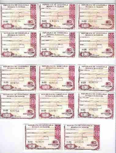 Timbres Fiscales De 1.000 Bolívares 2 Seriales Consecutivos
