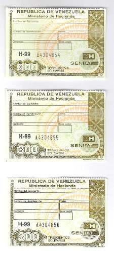 Timbres Fiscales De 300 Bolívares 3 Seriales Consecutivos
